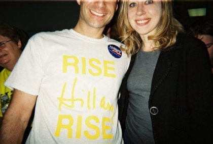 Bottom half of my face w/ Chelsea Clinton, campaigning for Hillary before the PA primary, 2008