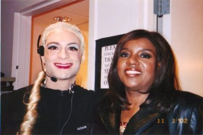Me (dressed as Madonna) with disco legend Gloria Gaynor, backstage at the WB Channel 11 Morning News, 2002
