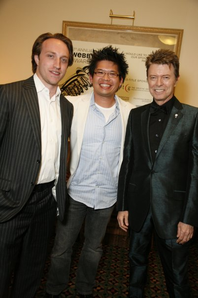 YouTube founders Chad Hurley and Steve Chen, with David Bowie, The Webby Awards, 2007