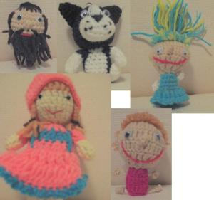 Clockwise from top left: Mr. Levanti (an Orthodox rabbi finger puppet, LOL!), Foo-Foo (Alexa's favorite), Crazy Sally, Graham, Heidi.